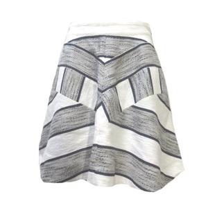3.1 フィリップリム 3.1 phillip lim スカート ミニ フレア ツイード 綿麻 白 紺 ホワイト ネイビー 4 Mサイズ相当 コットンリネン X