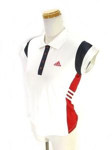中古 アディダス adidas スポーツ ウェア ポロシャツ 半袖 ワンポイント 白 紺色 赤 ホワイト ネイビー レッド L 国内正規 レディース