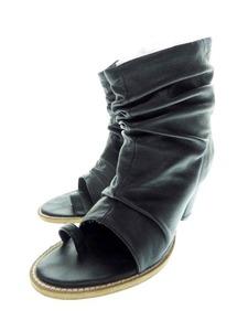 ワイズ Y's LEATHER BOOTS SANDALS オープントゥ ギャザー トング ブーツ サンダル ブラック 【ブランド古着ベクトル】 210627 ★ 020