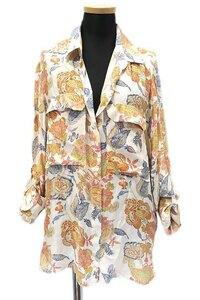 ザラウーマン ZARA WOMAN シルク 絹混 花柄 ボタニカル フラワー ロールアップ とろみ チュニック シャツ ブラウス S ホワイト オレンジ