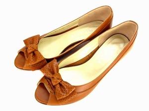 ダイアナ DIANA パンプス レザー 革 靴 オープントゥ リボン ローヒール ブラウン 茶 サイズ23 レディース
