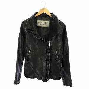 ジョルジオブラット GIORGIO BRATO Organic Edition ラムレザー ライダースジャケット 羊革 ジップアップ 42 黒 ブラック /DF レディース