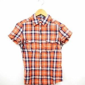 中古 エイチ&エム H&M シャツ ブラウス チェック 半袖 コットン 綿 36 ピンク ブルー 青 /MT23 レディース