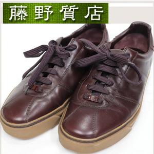 ルイヴィトン LOUIS VUITTON メンズ レザー シューズ 靴 ローカット スニーカー #7(1/2) 日本サイズ 26センチ MENS ブラウン 茶色 8295