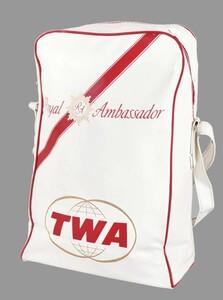 ヴィンテージ 60年代初頭~70年代中頃 TWA TRANS WORLD AIRLINES トランスワールド エアラインズ エアラインバッグ ホワイト×レッド(13767