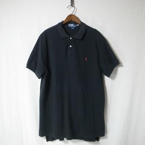 POLO Ralph Lauren ポロ ラルフローレン 鹿の子 ポロシャツ XL 黒 / ワンポイント ロゴ 刺繍 CUSTOM FIT