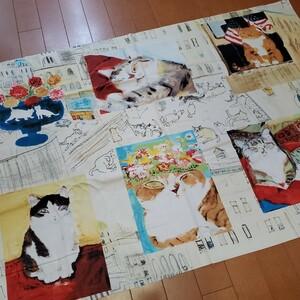 【パネル】カットクロス 久下貴史 Manhattaner's マンハッタナーズ【麗らかな猫たち】全6柄入 生地 オックス クリーム
