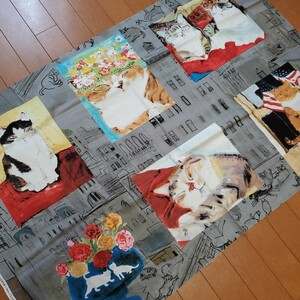 【パネル】カットクロス 久下貴史 Manhattaner's マンハッタナーズ【麗らかな猫たち】全6柄入 生地 オックス グレー