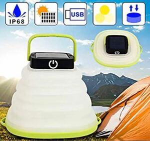 ソーラーライト キャンプライト LEDランタン 折り畳み式 ソーラーパネル USB充電可
