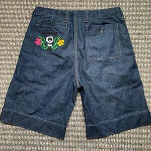 stussy ステューシー デニム ハーフパンツ  ショートパンツ ショーツ 半ズボン インディゴ 刺繍