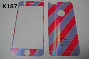 iPhone6 iPhone6s 4.7インチ 銀ラメ 表裏セット 9H 0.26mm 強化ガラス 液晶保護フィルム 2.5D K187