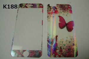 iPhone6 iPhone6s 4.7インチ 銀ラメ 表裏セット 9H 0.26mm 強化ガラス 液晶保護フィルム 2.5D K188