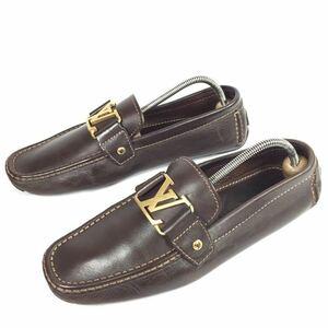 【ルイヴィトン】本物 LOUISVUITTON 靴 26cm 茶 モンテカルロ LV金具 ドライビングシューズ スリッポン ビジネス レザー メンズ 伊製 7