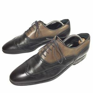 【ルイヴィトン】本物 LOUIS VUITTON 靴 25.5cm 黒 ビジネスシューズ 内羽根式 本革 レザー 男性用 メンズ イタリア製 6 1/2
