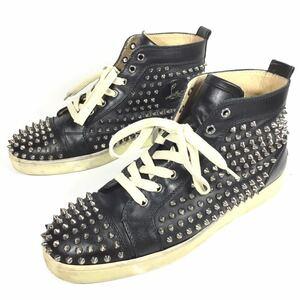 【ルブタン】本物 Louboutin 靴 28cm 黒 スパイク ハイカットシューズ カジュアルシューズ スニーカー スタッズ レザー 男性用 メンズ 43