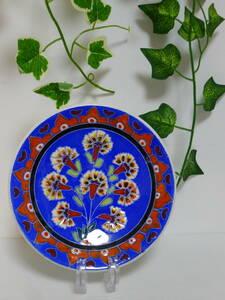 ff219●可愛いキュタフヤ陶器 KUTAHYA TURKEY トルコ 飾り皿 壁掛け プレート ハンドペイント※1ヶ所に欠けのようなものがあります。/60