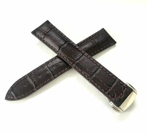 腕時計 交換用 イタリアンカーフレザー 革ベルト 20mm ダークブラウン こげ茶 Dバックル 【対応】オメガ シーマスター/スピードマスター等