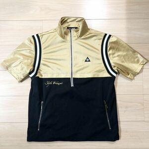 le coq sportif ルコック GOLF COLLECTION ゴルフコレクション ゴルフウェア ジャージ ジップアップ 半袖 Lサイズ 金 黒 美品