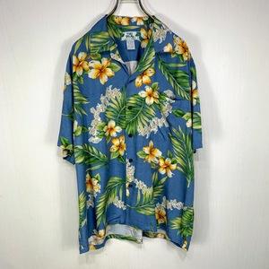ハワイ製 TWO PALMS アロハシャツ Lサイズ ブルー 青 総柄 半袖 シャツ ハワイアン オープンカラー 開襟 ハイビスカス 花 トゥーパームス