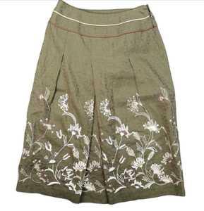 【SCAPA】綿麻スカート レディース38/Mサイズ 花柄刺繍 裏地付き セミロング カーキ 概ね美品 日本製 スキャパ イタリア生地 RED BRICK-s
