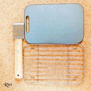 極厚鉄板/メスティンに収納できる鉄板  スクレーパー 網/3点セット