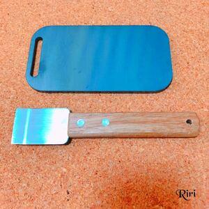 スモールメスティンに収納可能な国産の黒皮鉄板/スクレーパー/2点セット