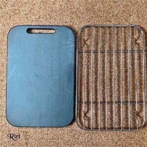 板厚6mm 黒皮鉄板/ラージメスティンに収納可能な鉄板と網/2点セット
