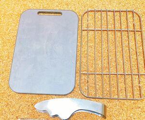 極厚鉄板/メスティンに収納できる鉄板  トング 網/3点セット