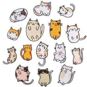 可愛い 猫 15個セット 刺繍ワッペン アイロンワッペン ワッペン