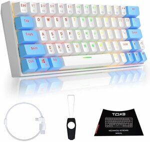 TMKB メカニカルキーボード 青軸 Bluetooth 4.0 ワイヤレス/有線 Windows/Mac OS サポート