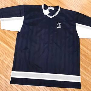 H7★新品★スヌーピー 涼しいストレッチVネック半袖Tシャツ メンズL ブラック黒色 スポーツ等にも 男女兼用