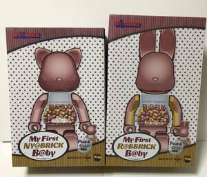 ★MY FIRST NY@BRICK B@BY 100% & 400% PINK GOLD Ver. & MY FIRST R@BBRICK B@BY 100% & 400% PINK GOLD Ver. 2種セット★新品 千秋