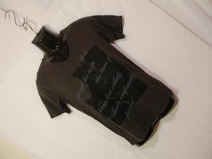 ssy4260 メンズ 半袖 Tシャツ カットソー ダークグレー系 ■ フロントプリント ■ Vネック カジュアル トップス Sサイズ