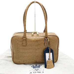 送料無料 超美品 ADMJ アクセソワ Accessoires De Mademoiselle ミニボストンバッグ 鞄 クロコ 型押し レザー 本革 ベージュ系 レディース