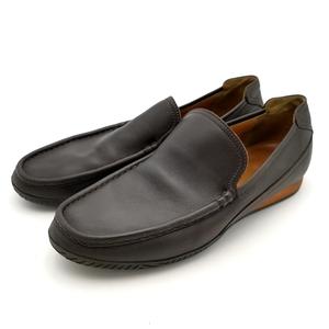 送料無料 エルメス HERMES スリッポン 靴 シューズ レザー 本革 42 26.5cm相当 ダークブラウン系 メンズ