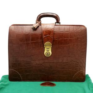 送料無料 マルベリー Mulberry ダレスバッグ ビジネスバッグ ブリーフケース 書類カバン 鞄 クロコ型押し レザー 本革 茶系 メンズ