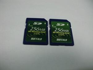 2枚セット SDカード BUFFALO 256MB 256メガバイト フォーマット済み 送料63円(ミニレター) メモリーカード