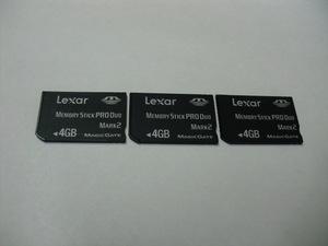 3枚セット メモリースティックプロデュオ 4GB Lexar フォーマット済み 送料63円~ memory stick pro duo