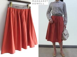 MARGARET HOWELL マーガレットハウエル SILK COTTON POPLIN シルクコットンポプリン ギャザー フレアスカート 2 ピンクオレンジ 日本製 MHL