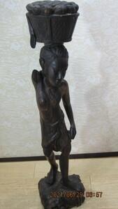 訳あり アフリカ 立像 女性像  彫刻 木彫り 民族 オブジェ 高さは60cm 中古