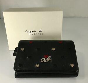 美品 agnes b VOYAGE アニエス・ベー 可愛い 小銭入れ付き ロゴハートデザイン ブラック 本革レザー ロゴプル付き 軽量 2つ折り財布です。
