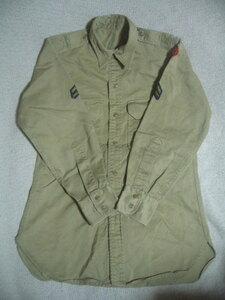 ヴィンテージ/ビンテージ 50's 米軍/U.S.ARMY/カーキシャツ/チノシャツ オリジナルワッペン付 カーキ S