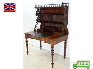 アンティーク家具 nd-2 1880年代イギリス製 アンティーク ビクトリアン ウォルナット オープン デスク 机 ライティングテーブル
