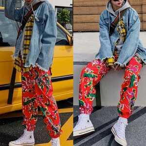 ジョガーパンツ ボトムス テーパードパンツ 花柄 パンツ L メンズ レディース 赤 オルチャン 韓国 原宿 渋谷