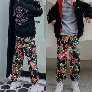 ジョガーパンツ ボトムス テーパードパンツ 花柄 パンツ 黒 ブラック L メンズ レディース オルチャン 韓国 原宿 渋谷 個性的