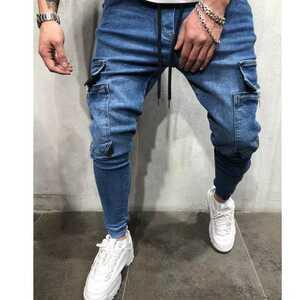 ジョガーパンツ ポケット付き デニム テーパードパンツ ボトムス スキニー M L XL