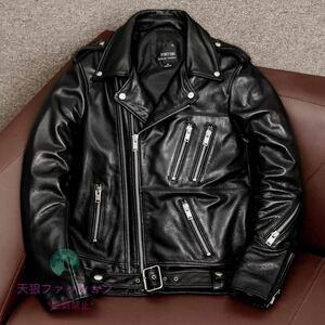 ●高品質 レザージャケット 本革 ライダースジャケット メンズファッション バイクジャケット カウハイド 牛革 革ジャン 韓流 S~4XL