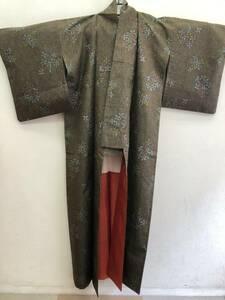 和装 「着物:小紋 花模様の絵柄」 身丈:約148cm 和服 長期保管品 襟裏に汚れ付着あり