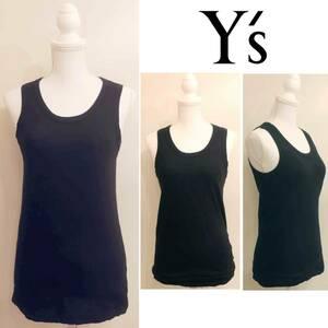 【新品】ワイズ 麻と綿のタンクトップ 黒|Y's ヨウジヤマモト Yohji Yamamoto 未着用 リネン コットン ノースリーブカットソー