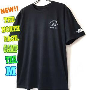 アウトドア☆ 新品 ノースフェイス キャンプ Tシャツ 黒 M 日本未発売 US ワンポイント テント シンプル 焚き火 レディースL 可愛い
